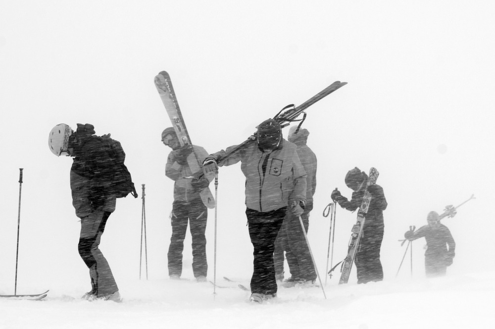 Hiking the ridge to Mirkwood Basin in a white out after the ropes dropped. - ©Josh Cooley
