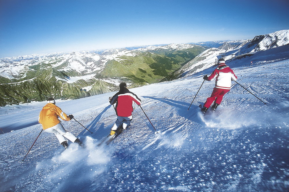 Summer ski resort: Carving up the slopes on the Hintertux Glacier.