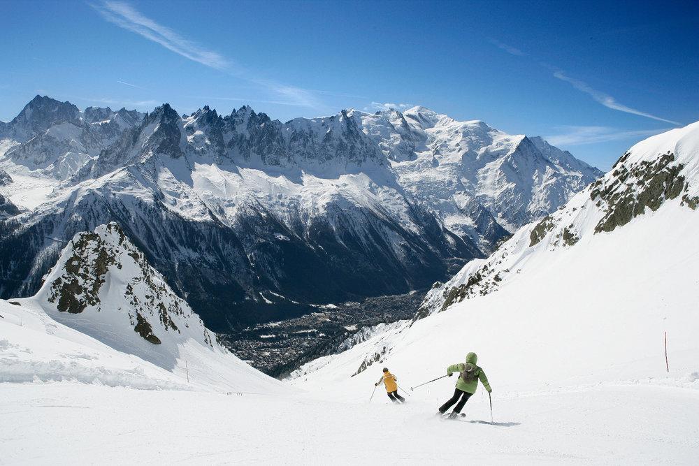 Skiing at Chamonix on La Flegère sector. Credit M. Dalmasso
