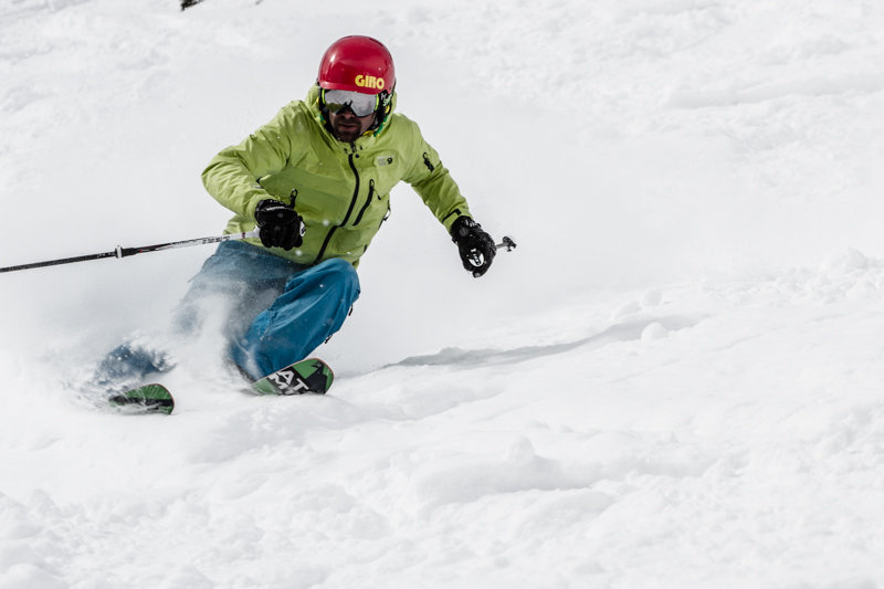 Our testers charged hard on the all mountain day at Snowbird. - ©Liam Doran
