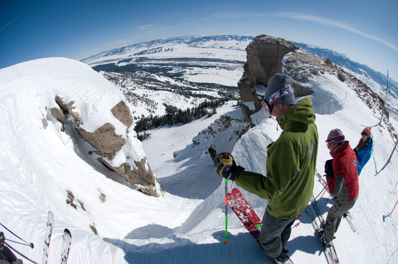 At the top of Corbets Couloir, Jackson Hole - ©Tristan Greszko/Jackson Hole Mountain Resort