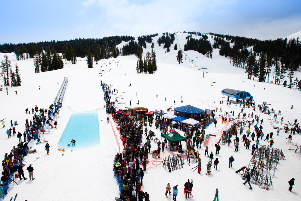 Pond skimming at Mt. Bachelor on closing day in May. Photo courtesy of Mt. Bachelor Resort.