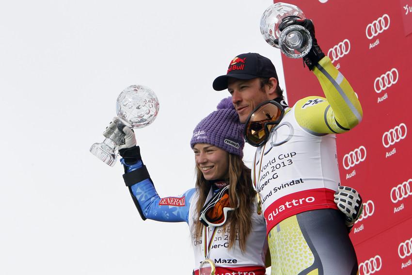 Die Sieger im Super-G-Weltcup 2012/2013: Tina Maze und Aksel Lund-Svindal - © Alexis Boichard / Agence Zoom