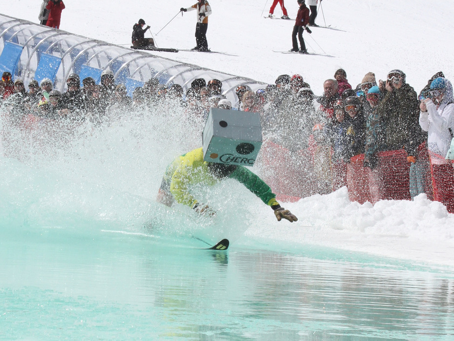 Pond skimming at Mt. Bachelor on closing weekend. Photo courtesy of Mt. Bachelor. - © Courtesy of Mt. Bachelor