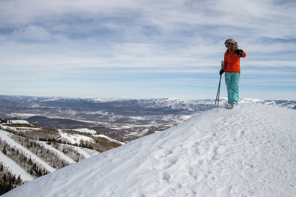Park City local and retired pro skier Meghan Brown enjoys the view from the top of Park City Mountain Resort. - ©Liam Doran