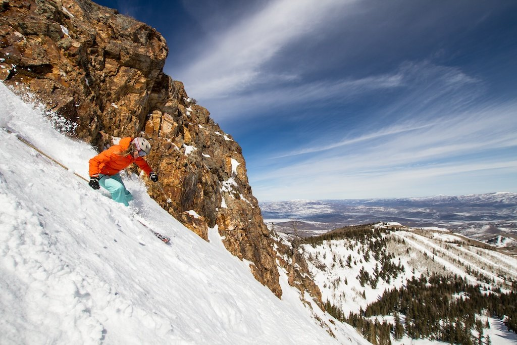 Park City local and retired pro skier Meghan Brown rips it up at Park City Mountain Resort. - © Liam Doran
