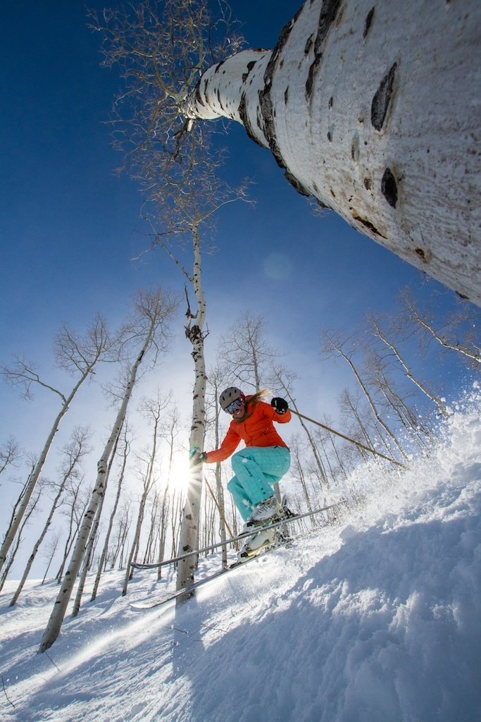 Park City local and retired pro skier Meghan Brown rips it up under blue skies. - © Liam Doran
