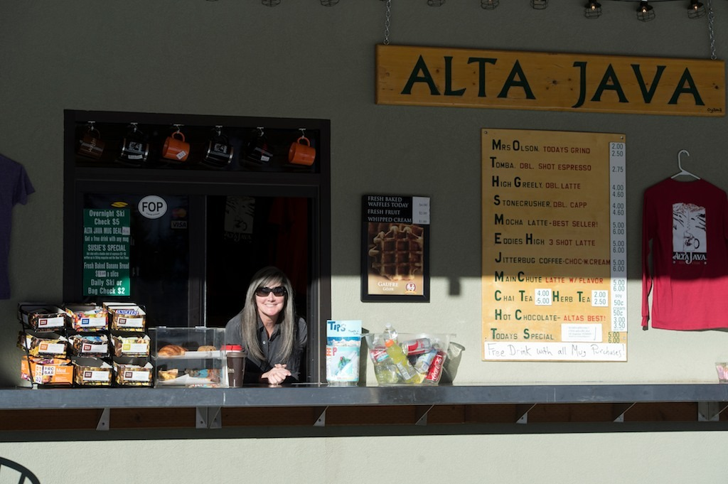 Susie Howard's smile keeps the coffee drinkers coming back at Alta Java. Alta Java has been a part of Alta since 1993. - © Lee Cohen