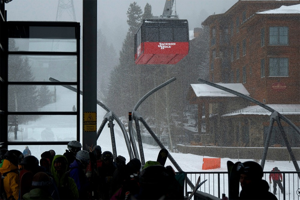 Jackson's iconic tram takes off from the base area bringing excited skiers to the top of Jackson Hole Resort. Photo By Chris Figenshau