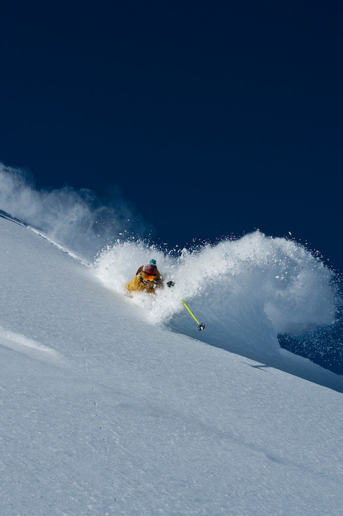Another shot from Christmas day, Caroline Gleich itching to get an Alta facial. - © Lee Cohen