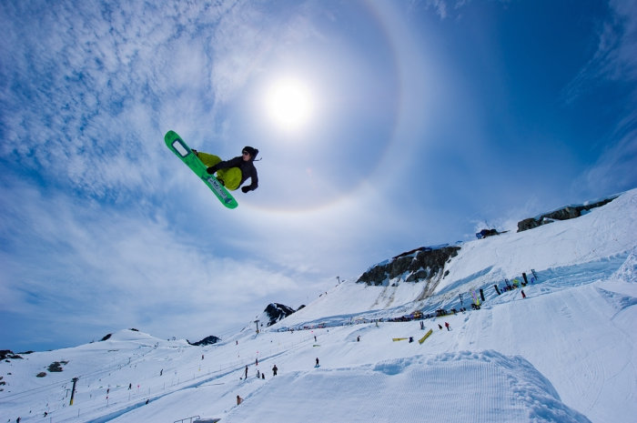 Snowboarding in summer on Horstman Glacier on Blackcomb Mountain. - © Mike Crane/Tourism Whistler.