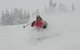 A skier finds powder in the backcountry of Grand Targhee, Wyoming