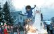 A skier jumps fire during a Mardi Gras celebration in Crested Butte, Colorado