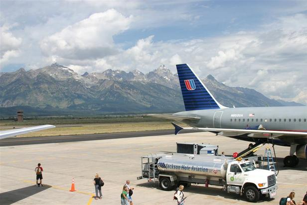 A United jet refueling at the Jackson Hole, Wyoming airport.