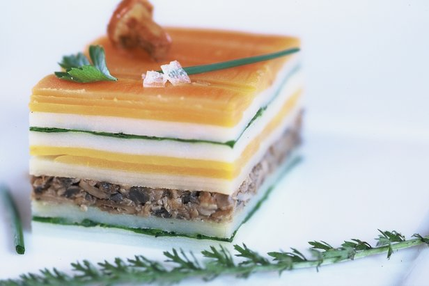 Savory millefeuille at Flocons Village, Megève