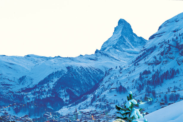 Snow-clad Zermatt and the Matterhorn, Switzerland.