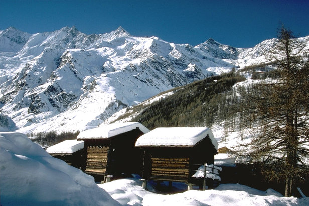 Quaint wooden huts in Saas Fee. Credit Photopress Saas Fee