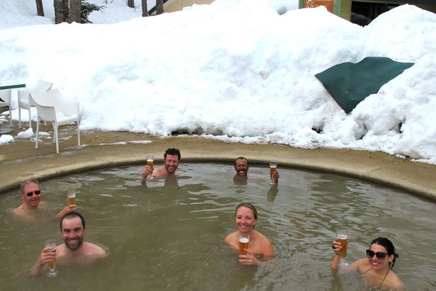Soaking in the hot springs of Termas de Chillan, Chile. Credit PowderQuest