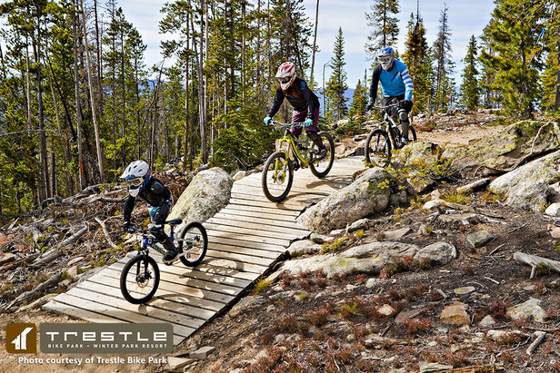 A family enjoys Winter Park's Trestle Bike Park.  - ©Winter Park