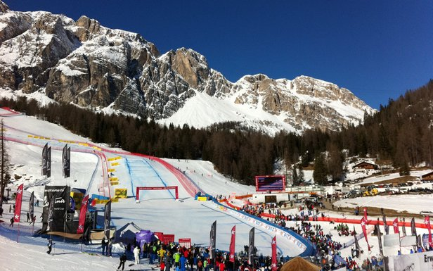 The women's Cortina downhill race begins on what is easily the steepest, most harrowing start hill on the women's World Cup tour.  - © Shauna Farnell