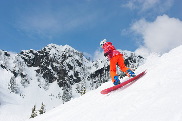 Alpental packs in the steeps for skiers and riders at the Summit at Snoqualmie. - ©Jeff Caven/Summit at Snoqualmie
