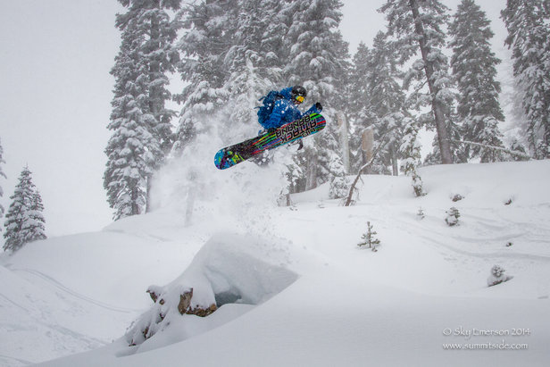 Shane Reide launches off a powder pillow at Sugar Bowl.  - © Sky Emerson