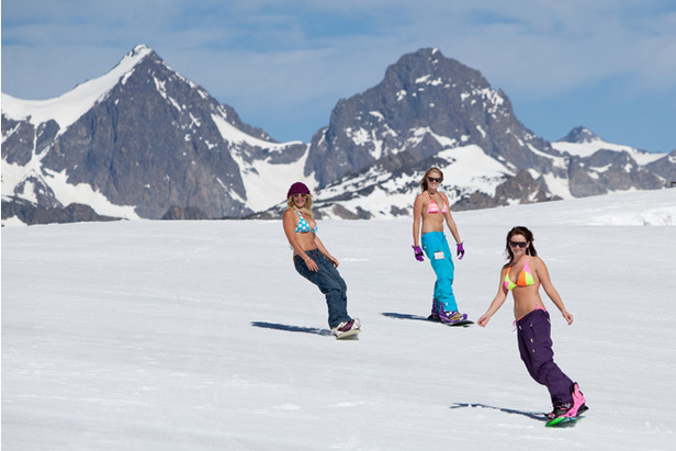 where to ski and snowboard in july