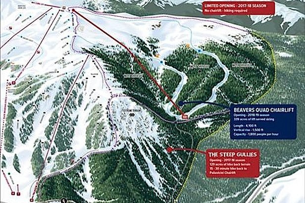 Access to the new bowls, intermediate terrain and advanced tree skiing will be enhanced by a new fixed-grip quad chairlift that's set to be installed during summer 2018 and ready to open by the 2018-2019 season.   - © Arapahoe Basin