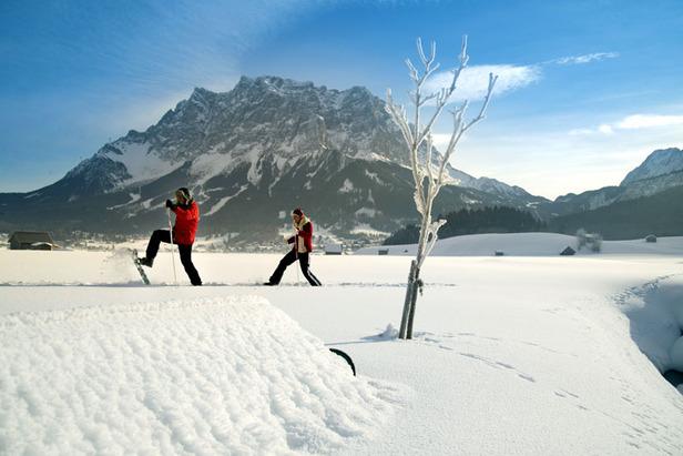 Spurensuche im Schnee: Geführte Schneeschuhwanderungen in der Tiroler Zugspitz Arena