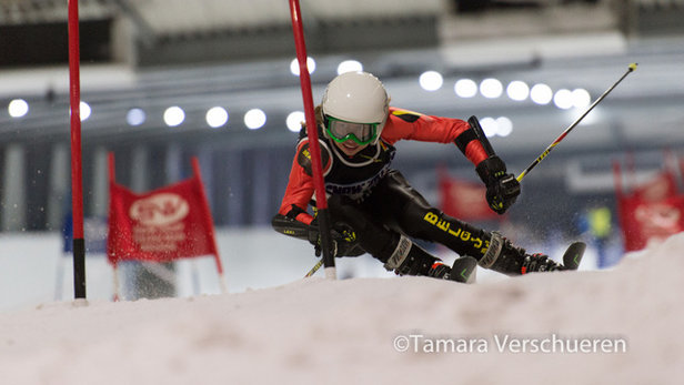 Sara Roggemans en Basil Lefèvre Belgisch Kampioenen Indoor Slalom- ©Tamara Verschueren