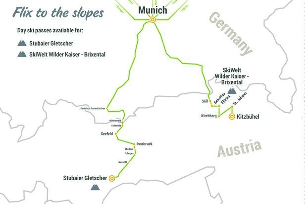 FlixBus erweitert sein Streckennetz: Regelmäßige Fahrten in Tiroler Skigebiete ©FlixBus
