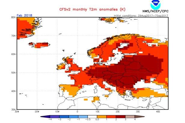 Model CFS: Prognoza odchylenia temperatur od średniej wieloletniej, luty 2018