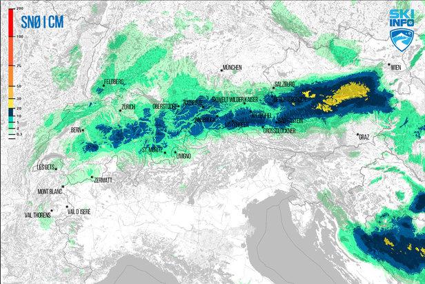 Snøvarsel for Alpene fra 19.04.2017 (06:30) og de neste 24 timene.  - © [c] ZAMG | Skiinfo