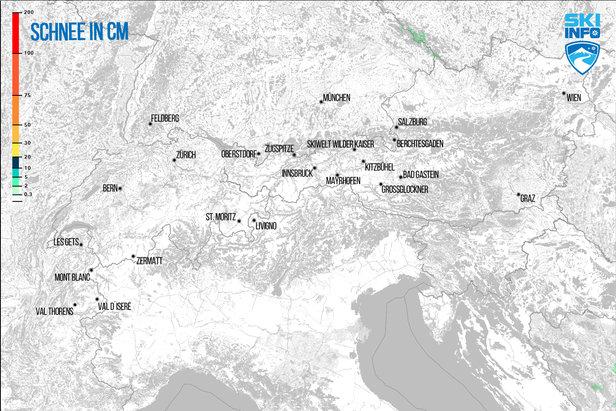 Schneevorhersage für Alpenraum vom 21.04.2017 (6:30 Uhr) für die nächsten 24 Stunden  - © [c] ZAMG / Skiinfo