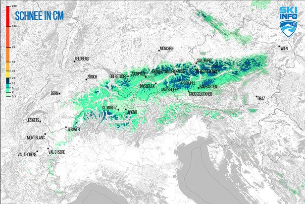 Schneevorhersage für Alpenraum vom 21.04.2017 (6:30 Uhr) für die nächsten 96 Stunden  - © [c] ZAMG / Skiinfo