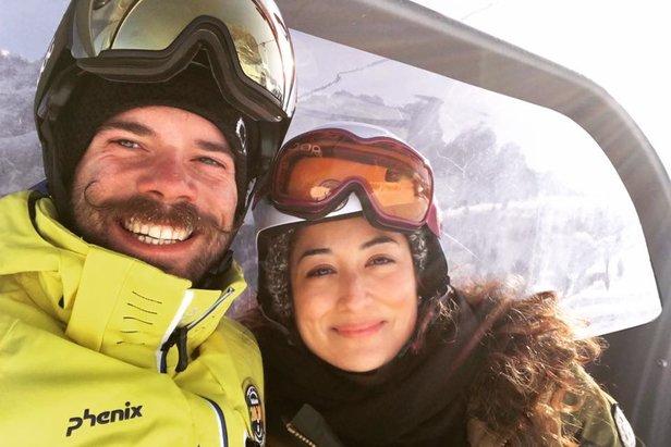 Monica and Antonio heading up the mountain in Val Gardena  - © Monica Adorno