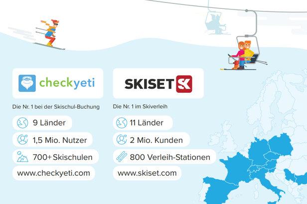 Gemeinsam decken die beiden Skisport-Unternehmen 80 Prozent der Alpen ab und ermöglichen Wintersportbegeisterten dank einfacher Online-Buchung ihren Skiurlaub stressfreier zu planen.  - © CheckYeti.com