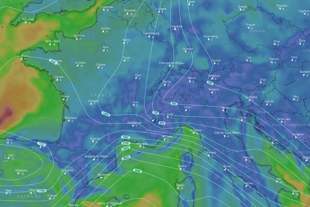 #Infoneige : situation et prévisions pour les prochains jours ©Capture d'écran Windy.com