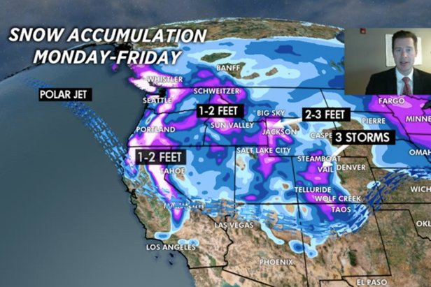 Powder days ahead for resorts in the West, with 2-3 FEET of snow expected at Jackson Hole & Alta/Snowbird.
