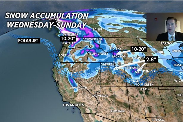 Expect up to 20 inches of snow accumulation in some areas of the West by Sunday.