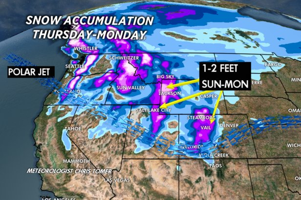 1-2 feet of total accumulation expected for the Tetons, Wasatch, and Central and Northern Mountains of Colorado.