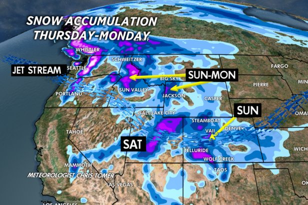 A few inches of snow coming Sunday and Monday for the Wasatch and I-70 corridor, more for Jackson Hole and Telluride.