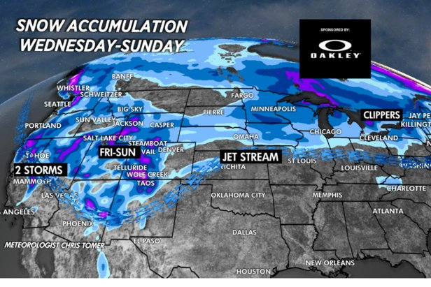 Areas in the Wasatch and Southern Colorado mountains could see up to 2 feet of snow by next week.