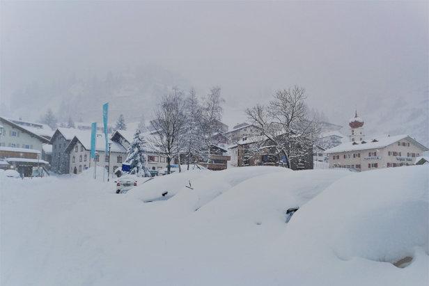 Neuschnee in Stuben am Arlberg