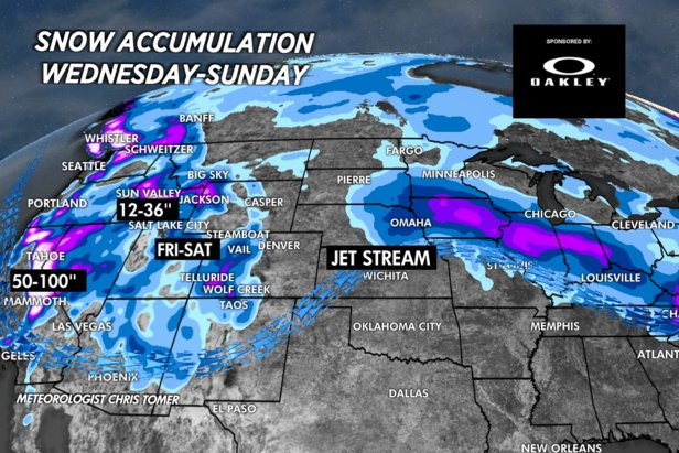 Multiple storms will drop feet of snow across the Western US this weekend.   - © Meteorologist Chris Tomer