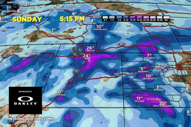 Ski areas in the Wasatch range could see up to two feet of snow this weekend.   - © Meteorologist Chris Tomer