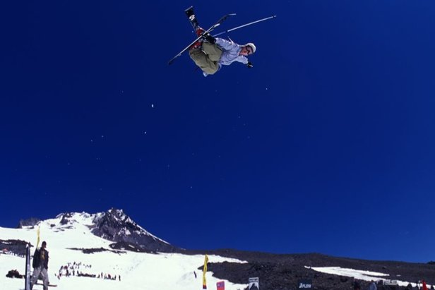 Summer skier over Timberline Lodge, Oregon.