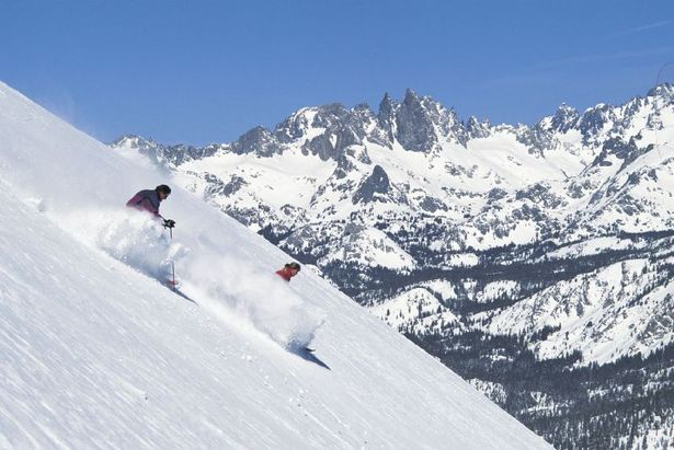 Powder skiers in Mammoth Mountain, California