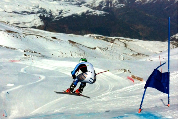 Ganong sends it off the first jump on the La Parva Super G course.