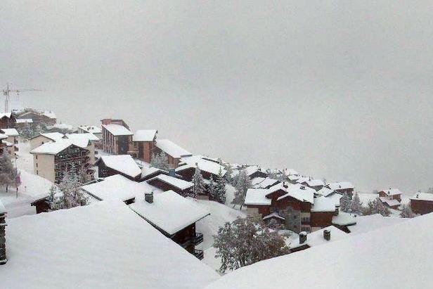 A snow-clad La Rosiere village